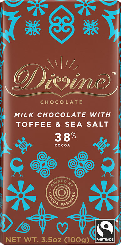 Image of 38% Milk Chocolate with Toffee and Sea Salt Packaging
