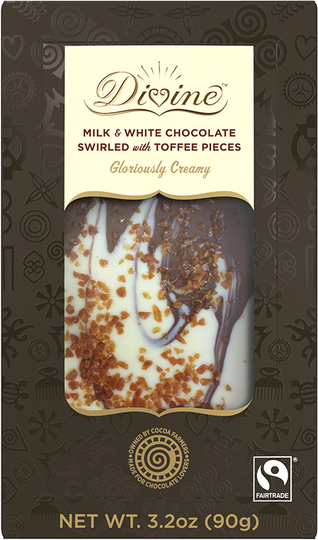 Image of Milk & White Chocolate Swirled with Toffee Pieces Packaging