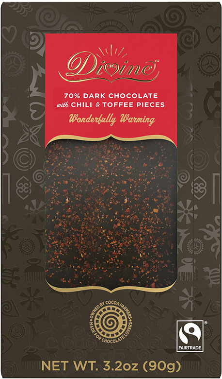 Image of Dark Chocolate with Chili & Toffee Pieces Packaging