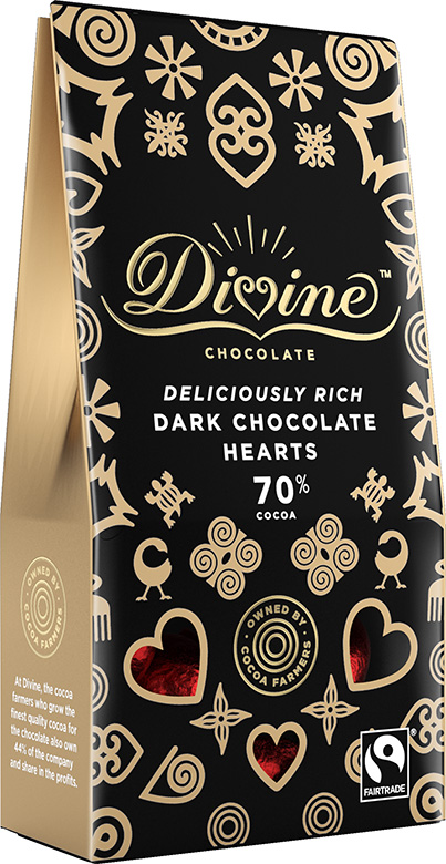 Image of 70% Dark Chocolate Hearts Packaging