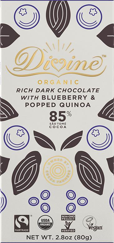Image of 85% Dark Chocolate With Blueberry & Popped Quinoa Packaging