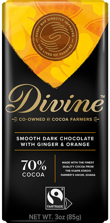 Image of 70% Dark Chocolate with Ginger & Orange Packaging