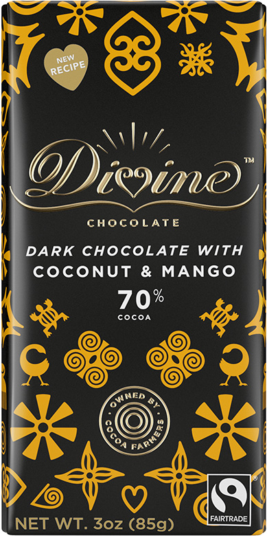 Image of 70% Dark Chocolate with Coconut & Mango Packaging