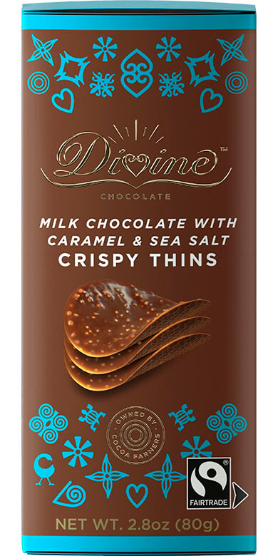 Image of Milk Chocolate w/ Caramel & Sea Salt Crispy Thins Packaging