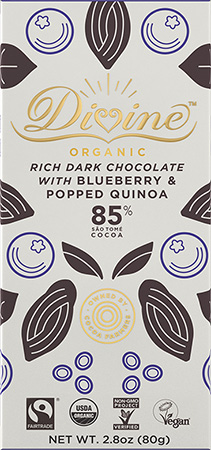image of 85% Dark Chocolate With Blueberry & Popped Quinoa